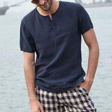 Men Retro Short Sleeve Thin Linen Shirts Button Round Neck Blouse Casual Tee Tops