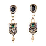 Retro Emerald Diamond Oor Drop Earring
