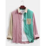 Camisa de pana para hombre de color block con diseño de patchwork casual de manga larga Banggood con bolsillo