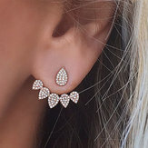 Trendy Flower Brincos Gold Silver Rhinestones completos Orelha Stud Gift for Women