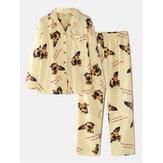Women Dog Pattern Slogan Print Long Sleeve Pocket Home Long Sleeve Cotton Pajama Set