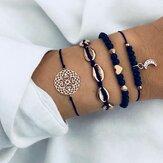 Conjunto de pulseira boêmio geométrico oco Corda pulseira pêssego Coração contas lua Pingente pulseiras