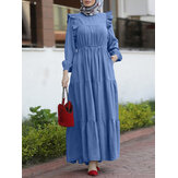 Women Solid Color Puff Sleeve Stitching Ruffle Trims Elastic Waist Casual Layered Dress