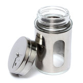 Stainless Steel Glass Spice Shaker Empty Jar Condiment Salt Pepper Kitchen Storage Adjustable Cap