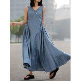 Kadın Günlük V Yaka Düğme Yan Fermuar Pileli Kolsuz İnce Maxi Elbise