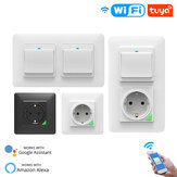 MoesHouse WiFi Smart Light Wall Switch Socket Outlet Push Button DE EU Smart Life Tuya Wireless Remote Control Work with Alexa Google Home