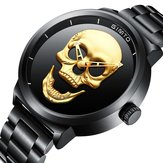 GIMTO GM244 Skull Pattern Steel Watch Band Quartz Men Watch