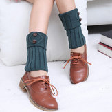 Men's Button Knitting Boot cuff Crochet Toppers Meias Caldeiras para peúgas