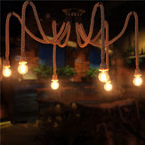 E27 6 Heads Industrial Chandeliers Pendant Lamp Vintage Hemp Rope Ceiling Light Fixture