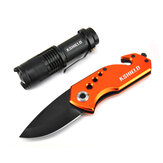 KSHIELD Stainless Steel Mini 6.1in EDC Folding Pocket Knife with LED Flashlight and Clip Belt Nylon Sheath for Outdoor Hunting