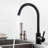 Bacia da pia da cozinha de aço inoxidável da rotação de 360 ° Torneira misturada cobre quente & frio com mangueiras