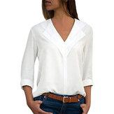 Women Pure Color V-neck Long Sleeve Chiffon Blouse