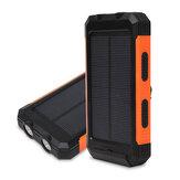 Banque d'énergie solaire 12000mAh double chargeur solaire étanche portable USB avec 2 LED lumière intégrée boussole