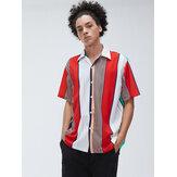 Heren Multi Color Stripe Ademend Casual Shirts met korte mouwen
