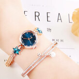 Elegant Crystal Lucky Star Pattern Dames quartz horloge