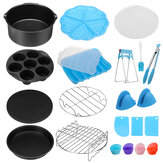 17Pcs 7/8/9'' Air Fryer Accessories Set Non-stick Frying Cage Dish Baking Pan