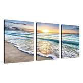 Playa Lienzo Arte de la pared Sunset Sand Ocean Sea Wave 3 Panel Home Picture Decor Paintings