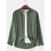 Mens Vertical Stripes Lapel Collar Long Sleeve Casual Shirts With Pocket