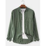 Chemises décontractées à manches longues à col à revers à rayures verticales pour hommes avec poche