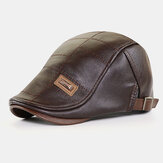 Men Faux Leather Autumn Winter Solid Keep Warm Plus Velvet Fashion Leather Adjustable Beret Hat