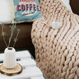 80x100CM Handmade Knit Knitted Blankets Soft Thick Cotton Throw Sofa Bed Decor - 5