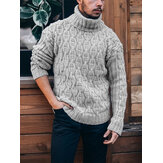Herren Solid Color Twisted Cable Knit High Neck Slim Fit Freizeitpullover