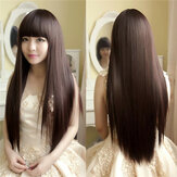 Charming Fluffy Straight Wig High-Temperature Fiber Natural Long Hair Full Wigs Party 3 Colors Cute