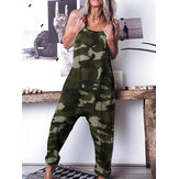 Women Loose Camouflage Print Sleeveless Harem Pants Jumpsuit with Side Pockets