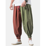 Banggood Designed Mens Vintage 100% Baumwolle Patchwork Color Block Kordelzug Casual Pants