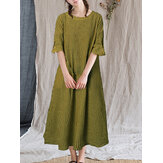 Women Vintage Plaid Puff Sleeve O-neck Casual Maxi Dress With Pocket