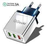 QGEEM QG-CH04 27W 3 USB Travel Wall Charger Adapter QC3.0 Fast Charging For iPhone XS 11Pro Huawei P30 P40 Pro MI10 Note 9S S20+ Note 20