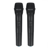 2Pcs VHF Wireless Bluetooth Karaoke Microphone Speaker 2 Handheld MIC KTV Player