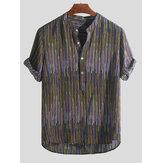 Mens Ethnic Style Gedruckt Colorful Streifen Lose T-Shirts Stehkragen Henley Shirts