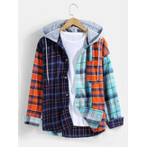 Mens 100% Cotton Plaid Patchwork Chest Pocket Long Sleeve Hooded Shirts