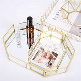 2 Rozmiar Lustro Szklana Taca Octagon Kosmetyczne Makijaż Pulpit Organizator Biżuteria Wyświetlacz Stand Holder