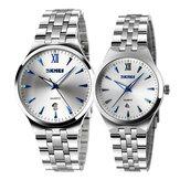 SKMEI 9071 Paar Horloge Mode Lichtgevende Simple Style Lovers Quartz Wrist Watch