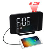 LED Projector 180 Degree Rotate Alarm Clock Large Screen Rechargeable Mobile Phone Curved Dual Electronic Clock FM Radio Home Bedroom Supplies