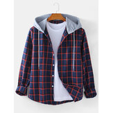 Mens Classical Check Button Up Langarm lässig Plain Drawstring Hooded Jacket