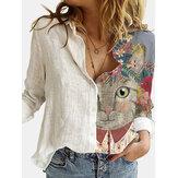 Women Cute Cartoon Cat Print Lapel Collar Button Up Long Sleeve Shirts