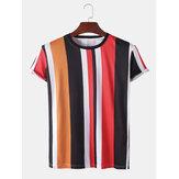 Mens Vertical Stripe Breathable Short Sleeve T-Shirts