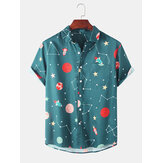 Fashion Starry Sky Cartoon Printing Breathable Short Sleeve Casual Shirts For Men Women