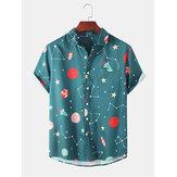 Moda estrelado Sky Impressão dos desenhos animados respirável de manga curta camisas casuais para mulheres dos homens