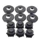 6pcs Spools+6pcs Cap Combo Lawnmower Head Cover For Stihl 25-2 FS 90 100 110 120 130 55 80 83 85