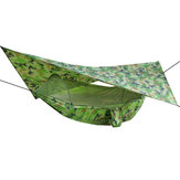 IPRee® 250x120cm Outdoor Double Hammock Hanging Swing Bed With Mosquito Net+Camping Tent Sunshade Canopy