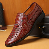 Men Microfiber Leather Hollow Breathable Business Casual Shoes