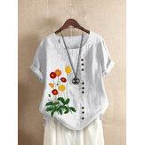 花刺繡Oネック半袖ボタンカジュアルTシャツ女性用
