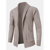 Mens Open Front Solid Color Knitted Long Sleeve Sweater Cardigans With Pocket