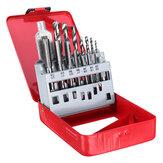 16Pcs/Set Screw Tap Drill Bit Set M3-M12 Metric Hand Tap with 2.5-10.2mm Twist Drill Bit
