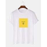 メンズコットン100%グラフィックラウンドネックカジュアルショートスリーブTシャツ