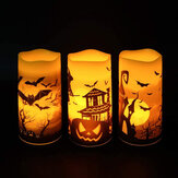3Pcs Flameless Flickering Candles Warm Light Halloween Decor Castle Witch Bats Yellow